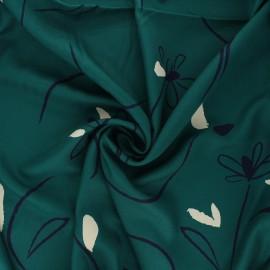 Viscose twill fabric - emerald green Bloom x 10cm