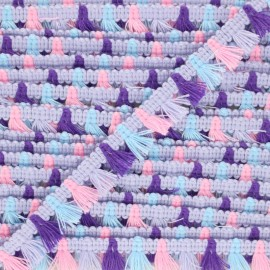 Galon mini pompon Almería 15 mm - violet x 1m
