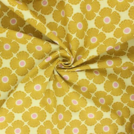 Tissu coton Cotton Steel In a pring day - Blossom - jaune x 10cm