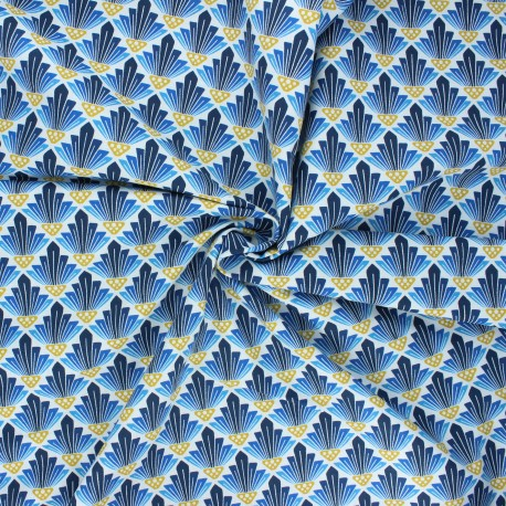 Tissu coton Cotton Steel In a spring day - To the sun - bleu x 10cm