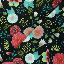 Organic french terry sweatshirt fabric - black Gardener's delight Sweet home x 10 cm