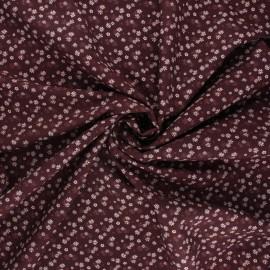 Tissu popeline de coton Flower wave - acajou x 10cm