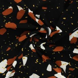 Viscose crepe fabric - black Bloom x 10cm