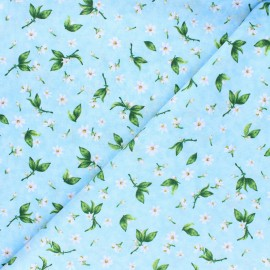 Tissu coton Timeless Treasures - Blooming fruits - bleu x 10cm