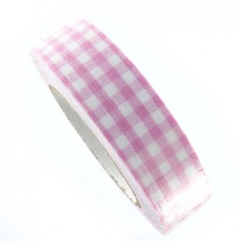 Adhesive ribbon tape, gingham - pink