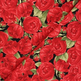 Tissu coton Timeless Treasures - Red roses - noir x 10cm