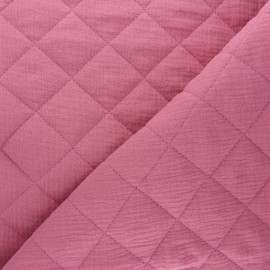 Plain quilted double gauze cotton fabric - rosewood x 10cm
