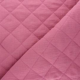 Tissu double gaze matelassé réversible uni - bois de rose x 10cm