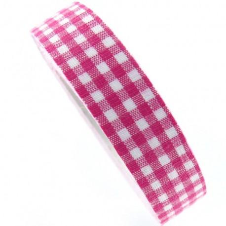 Adhesive ribbon tape, gingham - fuchsia