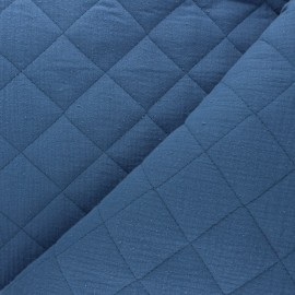 Plain quilted double gauze cotton fabric - swell blue x 10cm