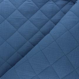 Tissu double gaze matelassé réversible uni - bleu houle x 10cm