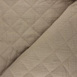 Tissu double gaze matelassé réversible uni - sable x 10cm