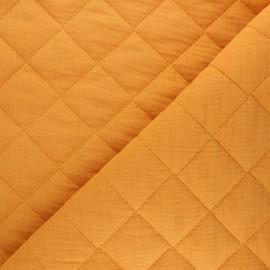 Plain quilted double gauze cotton fabric - honey yellow x 10cm
