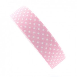 Adhesive ribbon tape, white polka dots - pink