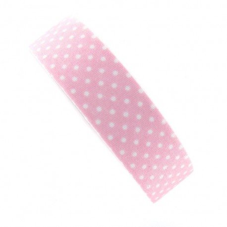 Adhesive ribbon tape, white polka dots - pink