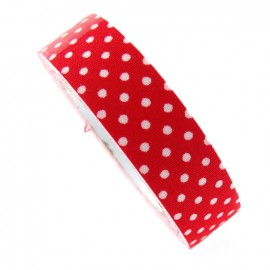 Adhesive ribbon tape, white polka dots - red