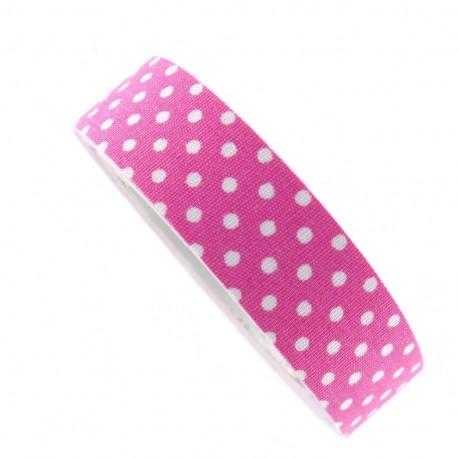 Adhesive ribbon tape, white polka dots - fuchsia