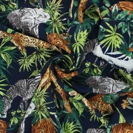 Viscose fabric - night blue Tropical life x 10cm