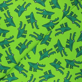 Jersey fabric - light green Croco folie x 10cm