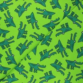 Tissu jersey Croco folie - vert clair x 10cm