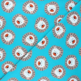 Jersey fabric - lagoon blue Sweet lion x 10cm