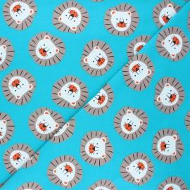 Tissu jersey Sweet lion - bleu lagon x 10cm
