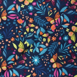 French terry fabric - night blue Butterflies in bloom x 10cm