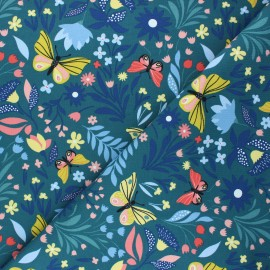 French terry fabric - peacock blue Butterflies in bloom x 10cm