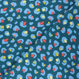 French terry fabric - peacock blue Leopard dots x 10cm