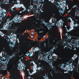 Tissu jersey Justice League - noir x 10cm