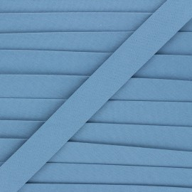 Biais coton bio 20 mm - bleu houle x 1m