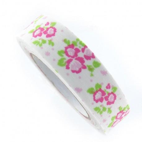 ruban adh sif fleurs roses blanc. Black Bedroom Furniture Sets. Home Design Ideas