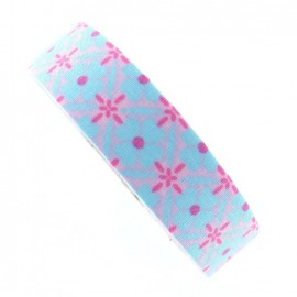 Adhesive ribbon tape, pink checkered - light blue