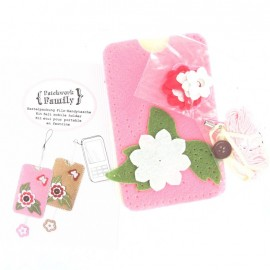Kit Etui portable feutrine rose