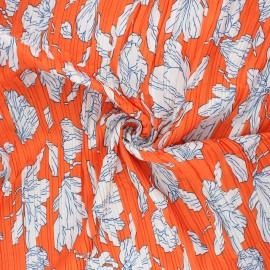 Pleated polyester fabric - orange Magnolia x 10cm