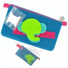 "Felt-fabric pencil-case kit ""Elephant"" - green/turquoise"