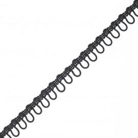 10mm elastic buttonhole ribbon - black x 1m