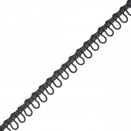 Galon boutonnière élastique 10 mm - noir x 1m