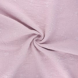 Embroidered double gauze cotton fabric - water pink Nina x 10cm