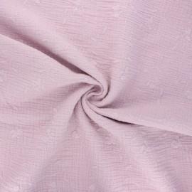 Tissu double gaze de coton brodé Nina - eau de rose x 10cm