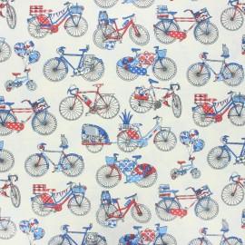 Coated cretonne cotton fabric - raw Bicycle trip x 10 cm