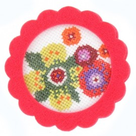 Round-shaped felt frame - azalea-colored