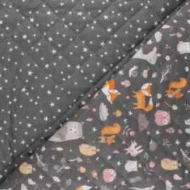 Tissu matelassé réversible Faline/Atria - taupe x 10cm