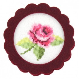 Round-shaped felt frame - burgundy