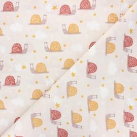 Cretonne cotton fabric - beige Arnaud x 10cm