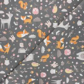 Cretonne cotton fabric - taupe grey Faline x 10cm