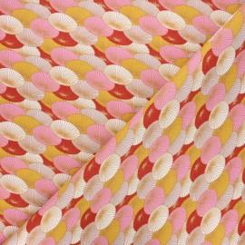 Cretonne cotton fabric - pink Ombrelle x 10cm