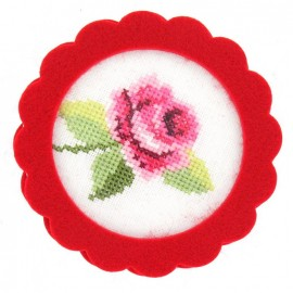 Round-shaped felt frame - red