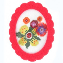Oval-shaped felt frame - azalea-colored