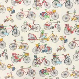 Coated cretonne cotton fabric - multicolor Bicycle trip x 10 cm
